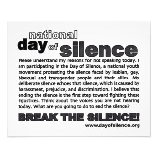 Day Of Silence Flyer! 11.5 Cm X 14 Cm Flyer