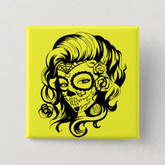 Day of the Dead Beauty 15 Cm Square Badge