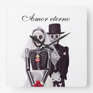 Day of the Dead Bride and Groom Clock