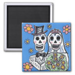 Day of the Dead Bride and Groom Square Magnet