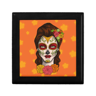 Day of the Dead Calavera Girl in Orange Gift Box