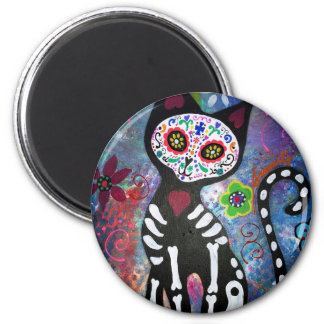 Day of the Dead Cat by Prisarts 6 Cm Round Magnet