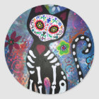 Day of the Dead Cat by Prisarts Classic Round Sticker