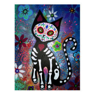 Day of the Dead Cat by Prisarts Postcard