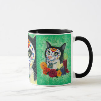 Day of the Dead Cat Candles Sugar Skull Art Mug