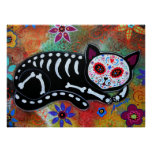 Day of the Dead Cat El Gato Painting Poster