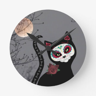 Day of the Dead Cat Round Clock