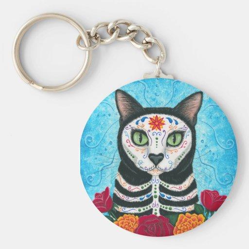 Day of the Dead Cat Sugar Skull Art Keychain