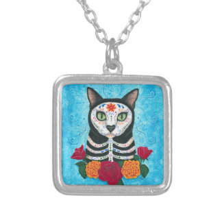 Day of the Dead Cat Sugar Skull Cat Art Pendants