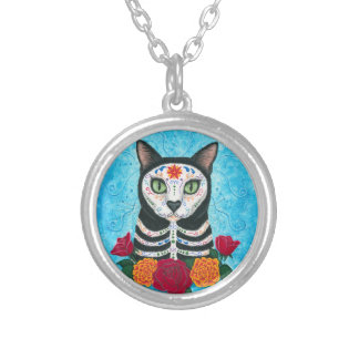 Day of the Dead Cat Sugar Skull Cat Art Round Pendant Necklace