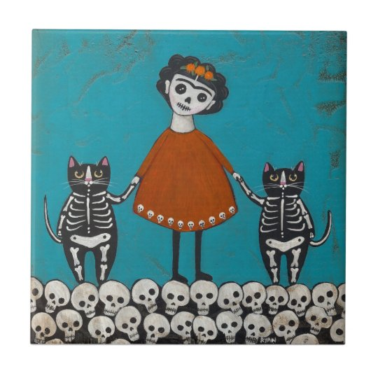 Day of the Dead Cats Small Square Tile