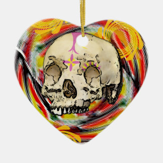 day of the dead ceramic heart decoration