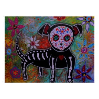 Day of the Dead Chihuahua Painting Poster