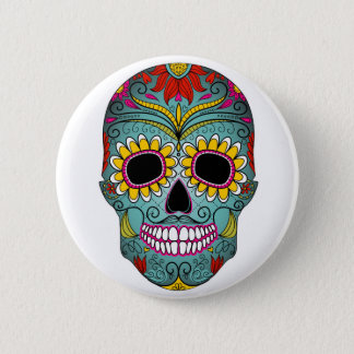 day-of-the-dead-colorful-skull-with-floral-ornamen 6 cm round badge