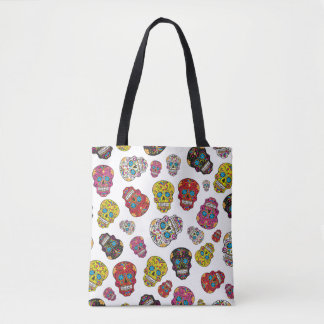Day of the Dead Colorful Sugar Skull Pattern Tote Bag