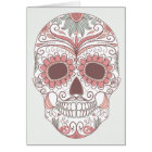 Day Of The Dead Colourful Skull With Floral Card