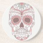 Day Of The Dead Colourful Skull With Floral Coaster