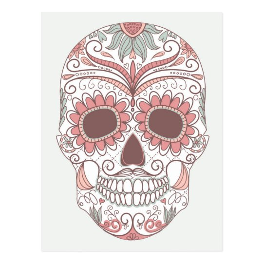 Day Of The Dead Colourful Skull With Floral Postcard