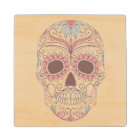 Day Of The Dead Colourful Skull With Floral Wood Coaster