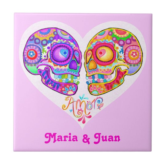 Day of the Dead Couple Ceramic Tile - Customise it