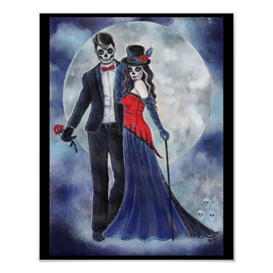 Day of the dead couple poster by Renee