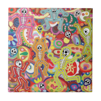 Day of the Dead Dancing Skeletons Ceramic Tile