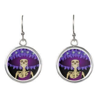 Day of the Dead Doll in Feather Hat Earrings