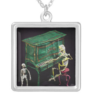 Day of the Dead figures as musicians Silver Plated Necklace