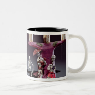 Day of the Dead figures as musicians Two-Tone Coffee Mug