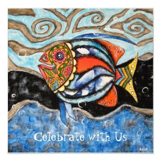 Day of The Dead Fish 13 Cm X 13 Cm Square Invitation Card