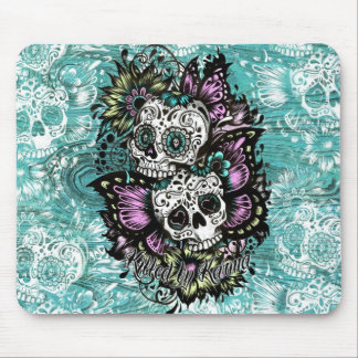Day of the Dead floral butterfly skulls. Mouse Mat