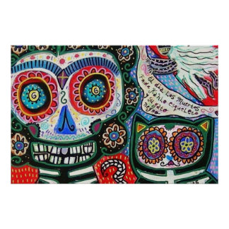 Day Of The Dead Frida & Black Cat Print