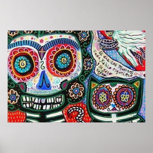 Day Of The Dead Frida & Black Cat Print