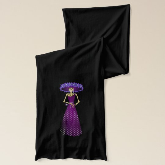 Day of the Dead Girl Skeleton Doll Scarf