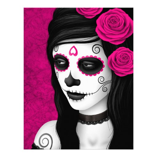 Day of the Dead Girl with Pink Roses Full Color Flyer