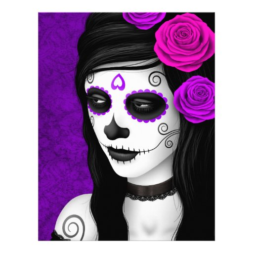 Day of the Dead Girl with Purple Roses Flyer Design