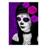 Day of the Dead Girl with Purple Roses Poster