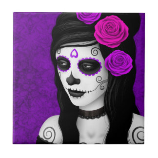 Day of the Dead Girl with Purple Roses Small Square Tile