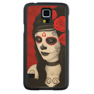 Day of the Dead Girl with Red Roses Carved Maple Galaxy S5 Case