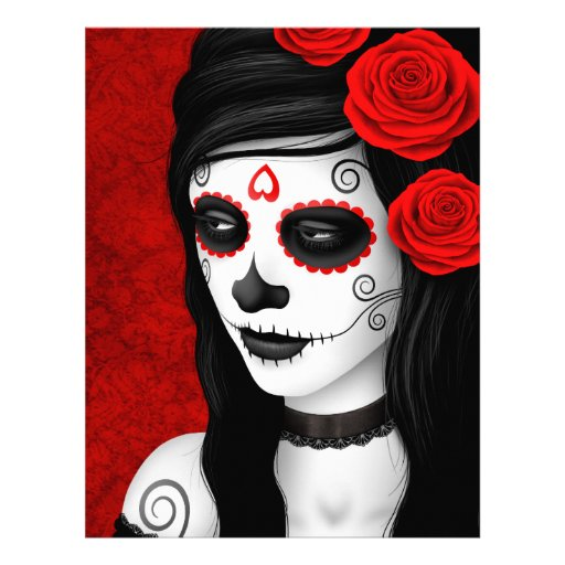 Day of the Dead Girl with Red Roses Full Color Flyer