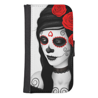 Day of the Dead Girl with Red Roses White Samsung S4 Wallet Case