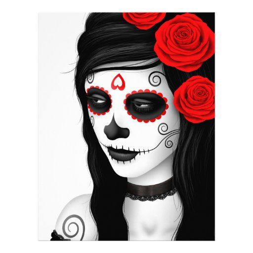 Day of the Dead Girl with Roses White Custom Flyer