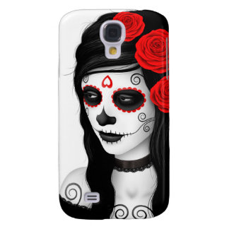 Day of the Dead Girl with Roses White Galaxy S4 Case