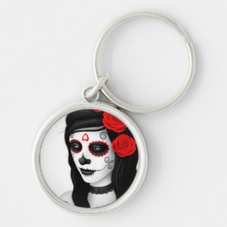 Day of the Dead Girl with Roses White Keychain