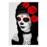 Day of the Dead Girl with Roses White Poster