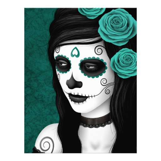 Day of the Dead Girl with Teal Blue Roses Flyer