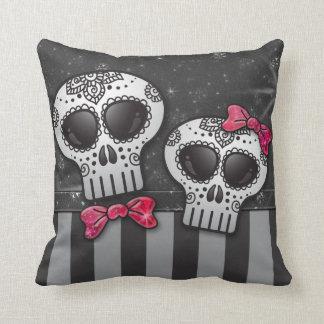 Day of The Dead Glitter Sugar Skulls Pirate Stripe Cushion