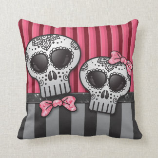 Day of The Dead Glitter Sugar Skulls Pirate Stripe Cushion