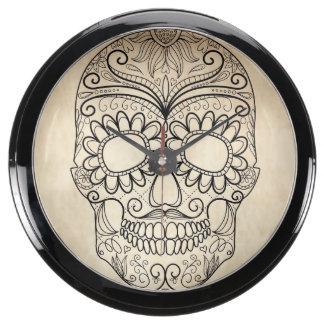Day Of The Dead Grungy Skull Aquarium Clock