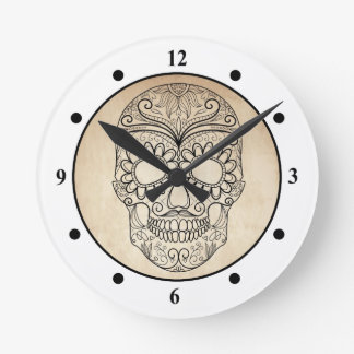 Day Of The Dead Grungy Skull Wallclocks